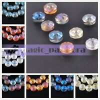 10pcs 14mm Round Coin Faceted Crystal Glass Spacer Loose Beads Jewelry Findings