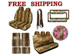 New Beige Leopard Print Seat Covers Floor Mat License Plate Frame Interior Set