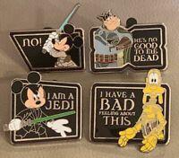 Disney star wars quote mystery pins Pete boba fett Mickey Luke Skywalker Goofy