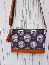 Gothic Skulls & Bats Horror Handbag - Black Lace Halloween Bag Brown