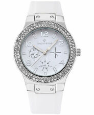 Timothy Stone Women's 'Facon' Silver & White Crystal Set Silicone Strap Watch