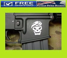 TWO AR15 MAG WELL BLACK OPS SKULL VINYL DECAL STICKERS Wrap Hand Gun Sniper USA