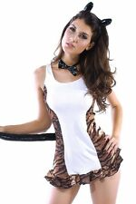 Sexy Women's Striped Tiger Animal Fancy Dress Costume with Ears & Tail