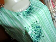 Medium True Vtg 70's Wild Lime Green Floral Print Sleeveless Stretch Knit Top