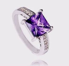 size 9- 925 sterling silver womens purple zirconia ring solitaire w/accents
