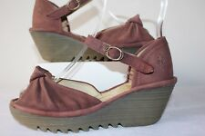 FLY LONDON LADIES CASUAL LEATHER SHOES / SANDALS WEDGE STYLE HEELS SIZE 38
