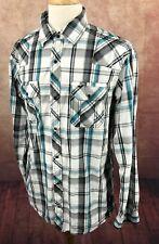 BKE Buckle Slim Fit Western Pearl Snap Rockabilly Black Plaid Shirt Men's XL