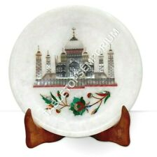 """6"""" Marble White Taj Mahal Art Dining Plate Pauashell Inlay Floral Marquetry Art"""