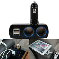 Dual Sockets Charger Adapter 2 USB Car Cigarette Lighter Splitter With Led Black