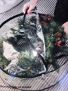 Mainstays 24 inch Wreath Storage Bag 2 Pack * Clear With Black Trim * NEW