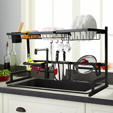 90cm Over The Sink Dish Drying Rack Shelf Stainless Steel Kitchen Cutlery Holder