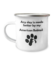 American Bobtail Cat Camping Mug Coffee Tea Paw Print Cat Lover Furbaby