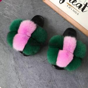 Women's Summer Real Fox Raccoon Fur Ball Slippers Flat Heel Sandals Plush Shoes