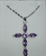 STERLING SILVER PURPLE AMETHYST CROSS PENDANT NECKLACE (New & Boxed) + FREE POST