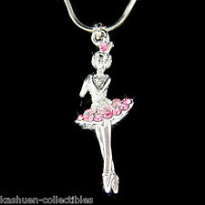 Pink w Swarovski Crystal BALLERINA Ballet Crown Necklace 4 The Nutcracker Lover