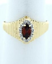LADIES 10K YELLOW GOLD 1/4ct MARQUISE SYNTHETIC GARNET JANUARY RING 11mm