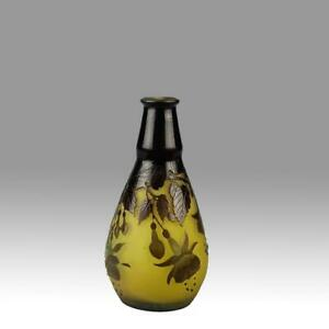 Art Nouveau Cameo Glass 'Fuschia Vase' by Emile Galle