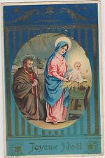 MAGNIFIQUE CARTE POSTALE ANCIENNE DE NOEL/JOSEPH/MARIE/JESUS-ETOILES DOREES