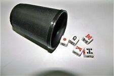 Gobelet pour lancer de dés + 5 dés ivoires poker tapis jeux