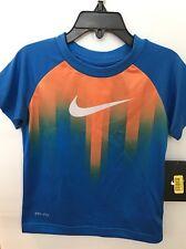 NWT The Nike Tee Boys Dri Fit Shirt Sz 3T Deep Royal Blue Orange Short Sleeve