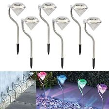 6 PK Modern Diamond Solar Power Stainless Steel Garden Light Colour Changing