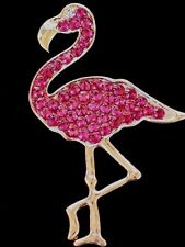 BELLA JACK RHINESTONE ISLAND FLORIDA HOT PINK FLAMINGO BIRD BROOCH PIN JEWELRY