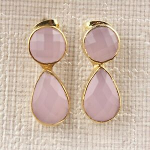 Stylish Natural Pink Chalcedony Yellow Gold Plated Stud Earrings For women's