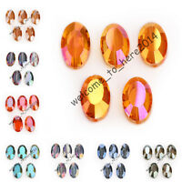 Flat Oval Jewelry Makings Glass Crystal Spacer Beads 22x13mm Charms 10 Colors