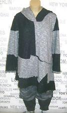 Bane by Kekoo: exclusive Lagenlook Long Pullover Kapuze grau/schwarz Gr. 48 - 52