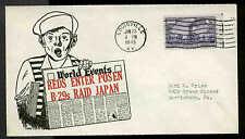 """WWII PATRIOTIC -REDS ENTER POSEN-B29""""s RAID JAPAN 1/23/45 ANG SHERMAN #10418"""
