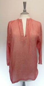 TOAST Uk 10 Red Lightweight Cotton Popover Blouse Tunic Length High Low Hem
