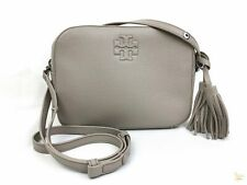 TORY BURCH French Gray Thea Pebbled Leather Zip Camera Crossbody Bag EUC SALE