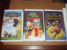 3 Disney Animated Movies, Hunchback of Noter Dame II, Cinderella II, Beauty & th