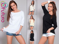 Women's Casual Top Boat Neck 3/4 Sleeve T-Shirt Tunic Jumper Size 8-12 FT595