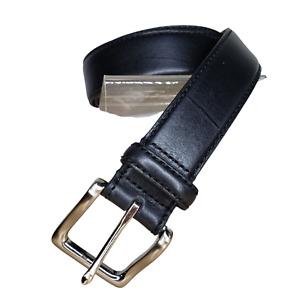 "Jos A Bank Belt Black Leather Silver Buckle Size 36 1 3/8"" Wide Men's"