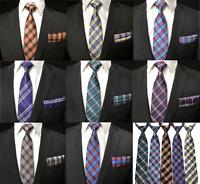 Tartan Check Grid Matching Colour Tie +Pocket Square Hanky Set Wedding Event UK