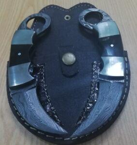 Custom made hand crafted Knife King's Damascus Small karambit pair
