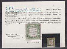FRANCOBOLLI 1859 SARDEGNA C.5 VERDE OLIVA Z/4981