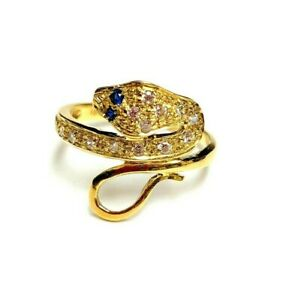 18k Yellow Gold Snake Ring sapphire Eyes size 6.75