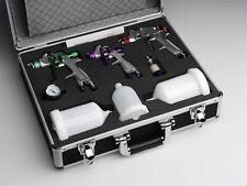 Lackierpistolen Set, 20 teilig im Koffer, 3x Pistolen & Becher & Zubehör