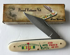 """Proud Vietnam Vet"" knife by  FROST Cutlery Ivory POM Handle"