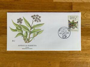 ANTIGUA & BARBUDA 1990 FDC FLEETWOOD AUDUBON FLOWERS ORCHIDS 01