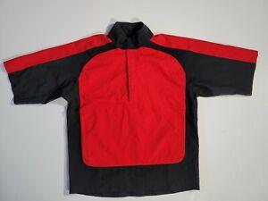 Footjoy FJ Dryjoys Short Sleeve Red/Black 1/2  Zip Golf Pullover Men's S