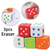 3pcs Novelty Dice Shape Pencils Eraser Stationery Supply Cleaner School Stu Top
