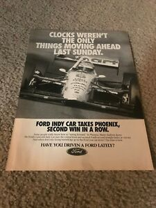 1993 FORD COSWORTH INDY CAR Poster Print Ad MARIO ANDRETTI #6 WINS PHOENIX RACE