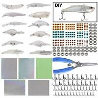 291Pcs Blank Lures Unpainted Crankbait Kit Fishing Plier Treble Hooks Split Ring