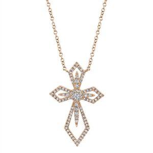 14K Rosegold Viktorianisch Diamant Kreuz Anhänger Halskette Damen Natur Rund Cut