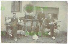 FOLK MUSIC POSTCARD MANDOLIN GUITAR BANJO ACCORDION GRAMOPHONE REAL PHOTO C.1910