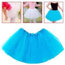 Tutu Elastico de Tul 3 capas Falda Disfraz Ballet para Niñas Bebes Cosplay Azul