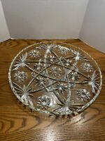 """Anchor Hocking Glass Clear Early American Prescut 13 1/2"""" Torte Plate Platter"""